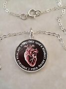Sterling Silver 925 Pendant Necklace Edgar Allan Poe Quote Anatomical Red Heart