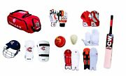 Dragon English Willow 12 Item Cricket Complete Accessories Red Team Sports Kit