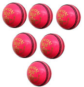 Special Test Pack Of 6 Cricket Balls Pink 156g 4piece Leather Excellent Quality