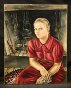Antique Painting Blonde Young Russian Girl Vintage Country Style Self Portrait