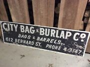 Vintage Original City Bag And Burlap Double Sided Metal Advertising Factory Sign