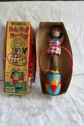 Vintage 1950and039s Plaything Mechanical Hula Hoop Wind Up Monkey With Box