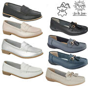 Ladies Moccasins Women Leather Deck Casual Boat Loafers Slip On Comfort Shoes