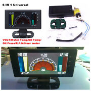 5 Lcd Digital 6 In1 Voltsclockrpmwater Tempoil Tempoil Press Car Led Gauge
