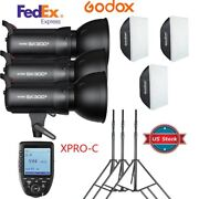 Us Godox Sk300ii 3x300w 900w Flash Light And Stand Softbox Trigger Kit For Canon