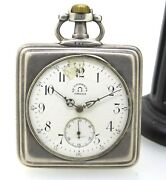 Rare Omega Made For Russian Market Silver Square Pocket Watch 49 Mm