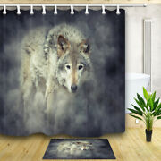 Grey Wolf In Smoke Animal Theme Bedroom Fabric Shower Curtain And 12 Hooks 7171