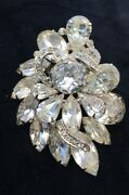 Vintage Signed Weiss Crystal Ice Clear Faceted Rhinestone 2.5 Pin Brooch