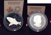 2018 Great White Shark W/ Blue Rhodium 30 2oz Puresilver Proof 50mm Canada Coin