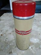 Vintage Thermos American Thermos Bottle Co. 5454 Metal Glass Plastic Red Tan