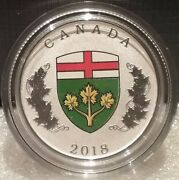 2018 Ontario Heraldic Emblem 25cent Pure Silver Proof Canada Coin