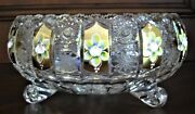 Bohemian Czech Vintage Gold Painted Crystal Footed Bowl 10 Queen Lace 24 Lead