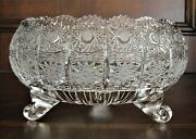 Bohemian Czech Vintage Crystal 9 Footed Bowl Hand Cut Queen Lace 24 Lead Glass