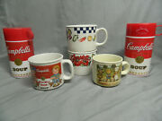 4 Campbell's Soup Mugs And 2 Campbell's Thermoses Lot