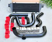 Black Piping Sqv/ssqv Flange + Intercooler + Red Coupler Kit For 92-00 Civic