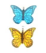 Summer Butterfly With Enamel Decal Fused Glass Pendant With Necklace