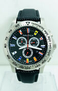 Nautica Nst 600 Black Dial Multifunction Chronograph Flags Watch A19595g