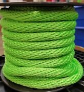 Anchor Rope Dock Line 3/8 X 50and039 Braided 100 Nylon Lime Made In Usa