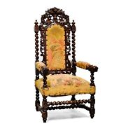 Large Antique French Renaissance Style Carved Hunt Arm Chair