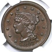 1847 N-23 R-5 Ngc Ms 64 Bn Braided Hair Large Cent Coin 1c