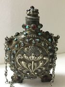 Antique Silver Vienna Perfume Bottle Turquoise Rubies 19th M2071