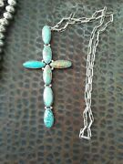 Older Native American Silver Turquoise Cross Necklace Huge 6 By 3 No.8 Sign