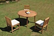 Dsdv A-grade Teak 4pc Dining Set 52 Round Table 3 Armless Chair Outdoor Patio
