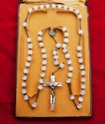 Antique Mother Of Pearl Moonston Silver Tairac Medal Rosary Rms