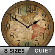 Vincenzo World Map Clock Large Wall Clock Ultra Quiet 8 Sizes Life Warranty