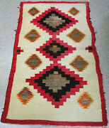 Antique Navajo Rug W/ Red Border, Hand-carded Grey, White Field C.1920 62 X 36