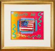 Flag With Heart By Peter Max Acrylic Overpaint Lithograph Signed Framed