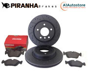 Bmw F10 518d 520d 10-15 Front Brake Discs And Pads Black Dimpled Grooved