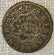 Spain 1596-ingenio Mint 4 Maravedi King Phillip 3 Extremely Rare Unlisted Date