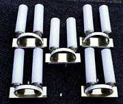 Set Of 5 Italian Sconces Wall Lamps 10 Lights Brass And Opal Glass White Pearl