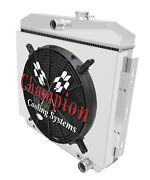 2 Row Bc Champion Radiator W/ 16 Fan And Shroud For 1955 56 1957 Chevrolet Cars
