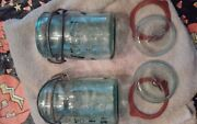 Vintage Two Atlas E Z Seal Pint Canning Jars Blue W/ Glass Covers