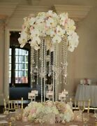 20 Clear Acrylic Tall Table Centerpiece With Hanging Crystals