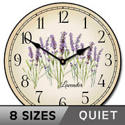 Lavender Vintage Wall Clock Ultra Quiet Comes In 8 Sizes Lifetime Warranty