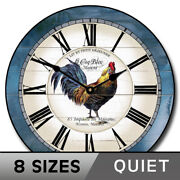 Carolina Blue Rooster Clock, Whisper Quiet, Comes In 8 Sizes, Lifetime Warranty