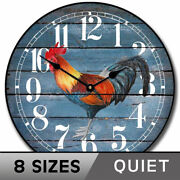 Barnwood Blue Rooster Clock, Comes In8 Sizes, Whisper Quiet, Lifetime Warranty