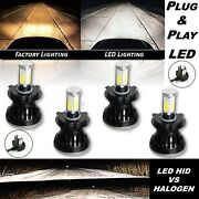 H4 Hid Smd Cob Led Low/hi Beam Headlight Light Bulb 6000k 4000lm Set Of 4 5-3/4