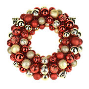 Metallic Christmas Ornament Wreath Red/gold 20-inch