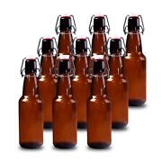 Case Of 9 Heavy Duty Amber Glass 12 Oz Beer Bottles For Home Brewing Flip Caps