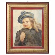 French Oil Painting On Canvas Signed And Dated Portrait Of A Baby 1919s