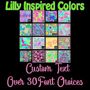 Lilly Patterned Custom Text Name Decal Sticker For Yeti Tumbler Cooler Jeep Suv