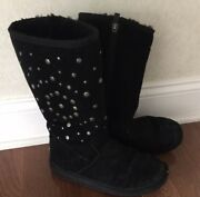 Uggs Black Shearling Sheepskin Suede Leather Studded Beaded Ladies Boots Size 6