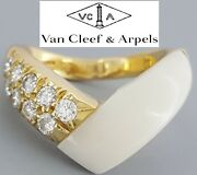 And Vca 18k Yellow Gold Round Cut Diamonds White Coral Ring