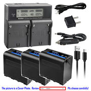 Kastar Battery Lcd Dual Fast Charger For Sony Np-f970 Gv-d800 Gv-d900 Gv-hd700e