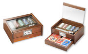 Box Game Nut 28x21 With Silver 925 E Poker Chips, Dice, Cards Broom, Domino