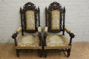 Large Pair Of Antique Carved French Renaissance Hunt Arm Chairs